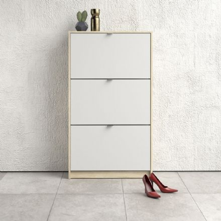 Shoes Shoe cabinet w. 3 tilting doors and 2 layers in Oak structure White